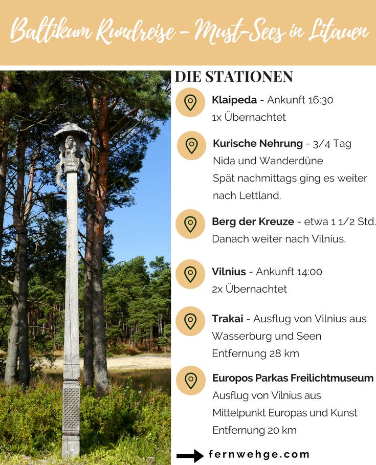 Die Stationen unserer Baltikum Rundreise in Litauen: Klaipeda, Kurische Nehrung, Berg der Kreuze, Vilnius, Europos Parkas, Trakai.